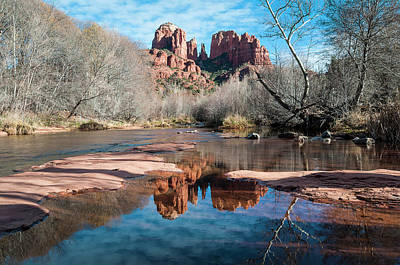 Cathedral Rock Reflection  Sedona Poster by Deb Garside