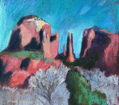 Cathedral Rock With Gray Trees Poster by Linda Novick