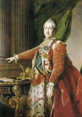 Catherine II The Great 1729-1796. Oil Poster