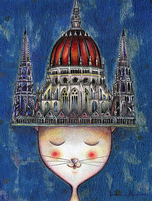 Cats And Catedral Of Budapest Poster by Daniel Levy policar