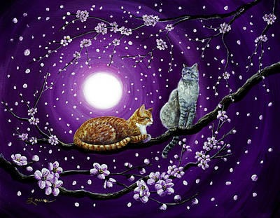 Cats In Dancing Cherry Blossoms Poster by Laura Iverson