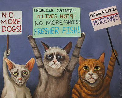 Cats On Strike Poster by Leah Saulnier The Painting Maniac