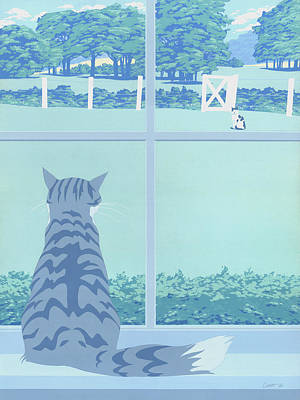 Abstract Cats Staring Stylized Retro Pop Art Nouveau 1980s Green Landscape Scene Painting Print Poster