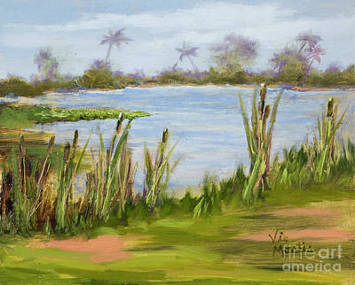 Poster featuring the painting Cattails And Palms by Vic  Mastis