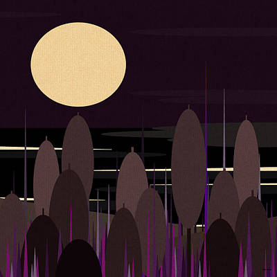 Cattails At Moonlight Bay Poster