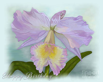Cattleya Orchid Misted Card Poster by Linda Allan