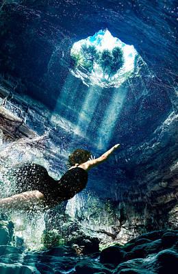 Cave Dive Poster by Vessela Banzourkova