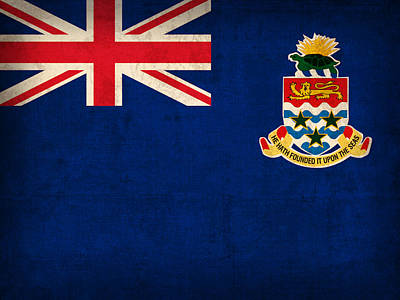 Cayman Islands Flag Vintage Distressed Finish Poster