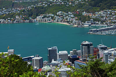 Cbd, Wellington Harbour And Oriental Poster by David Wall
