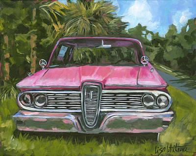 Cedar Key Edsel - Front Poster by Lisa Whitener