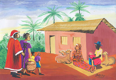 Poster featuring the painting Celebration Of The Nativity In Cameroon by Emmanuel Baliyanga