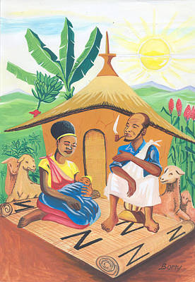 Poster featuring the painting Celebration Of The Nativity In Rwanda by Emmanuel Baliyanga