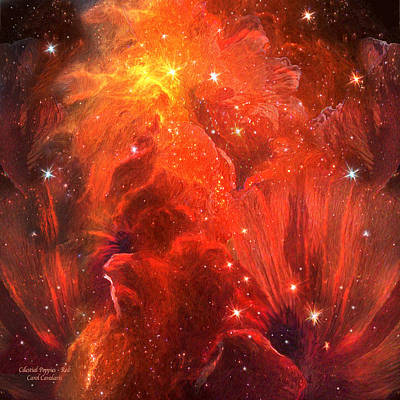 Celestial Poppies - Red Poster by Carol Cavalaris