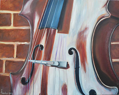 Cello And Brick Poster by Vanda Bleavins