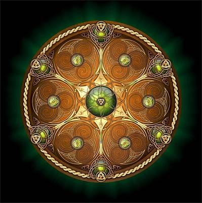 Celtic Chieftain Shield - Emerald Poster