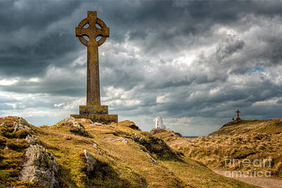 Celtic Cross At Llanddwyn Island Poster by Adrian Evans