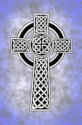 Celtic Cross Blue Poster