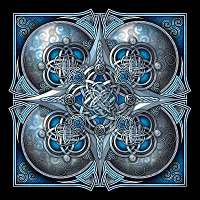Celtic Hearts - Blue And Silver Poster