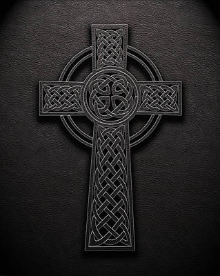 Poster featuring the digital art Celtic Knotwork Cross 1 Black Leather Texture by Brian Carson