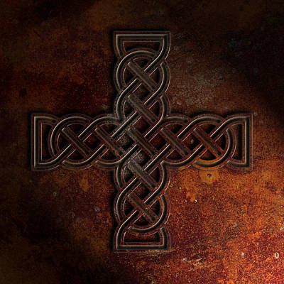 Poster featuring the digital art Celtic Knotwork Cross 2 Rust Texture by Brian Carson