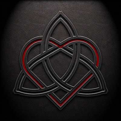 Poster featuring the digital art Celtic Knotwork Valentine Heart Leather Texture 1 by Brian Carson