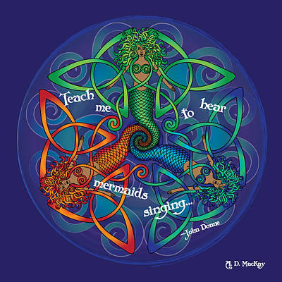 Celtic Mermaid Mandala Poster