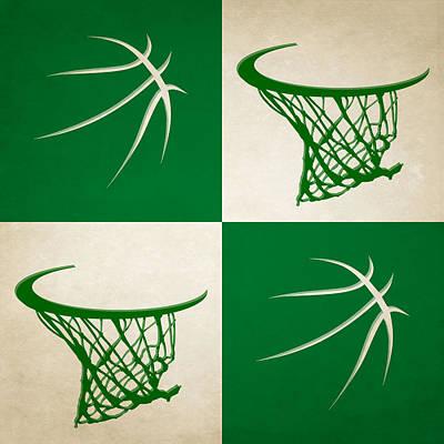 Celtics Ball And Hoop Poster by Joe Hamilton