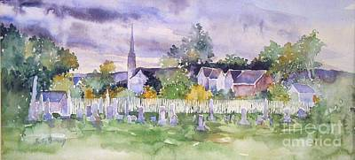 Cemetary Watercolor Poster by Sally Simon