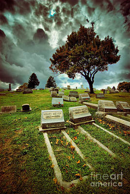 Cemetery With Ominous Sky Poster