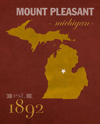 Central Michigan University Chippewas Mount Pleasant College Town State Map Poster Series No 028 Poster