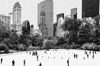 Central Park Ice Skating Black And White Poster by Regina Geoghan