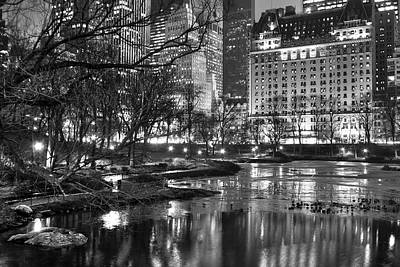 Central Park Lake Night Poster by Dave Beckerman
