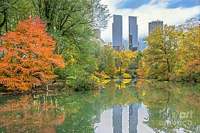 Central Park Pond In Autumn Poster by Regina Geoghan