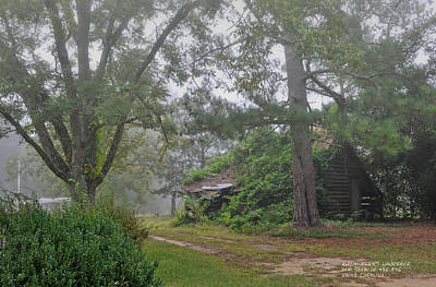 Poster featuring the photograph Century-old Shed In The Fog - South Carolina by David Perry Lawrence