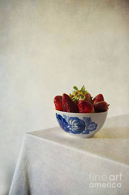 Fresh Strawberries In The White Blue Bowl  On The Table Poster