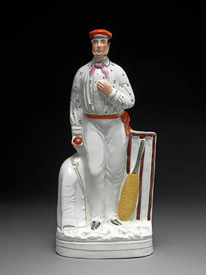 Ceramic, Cricketers - A Pair Each In Iron-red Cap Poster