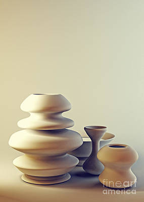 Ceramic Pottery Still Life I - Light And Shadow Poster by Beverly Claire Kaiya