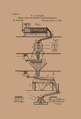 Cereal Food Manufacture Patent 1891 Poster