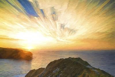 Cezanne Style Digital Painting Sunrise Ocean Landscape Poster by Matthew Gibson