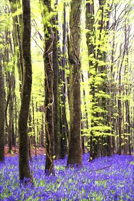 Cezanne Style Digital Painting Vibrant Bluebell Forest Landscape Poster by Matthew Gibson