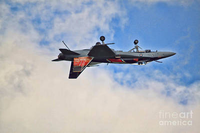 Cf18 Hornet Upside Down Fly By  Poster by Cathy  Beharriell