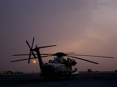 Ch-53 At Sunset In Afghanistan Poster