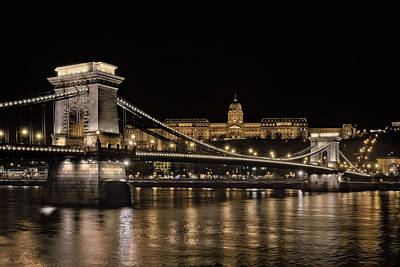 Chain Bridge And Buda Castle Winter Night Poster by Joan Carroll