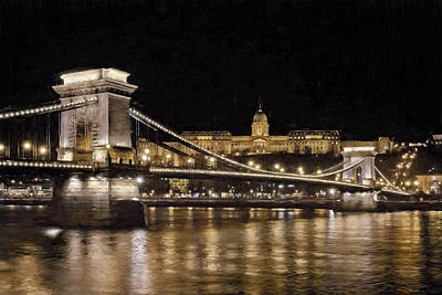 Chain Bridge And Buda Castle Winter Night Painterly Poster by Joan Carroll