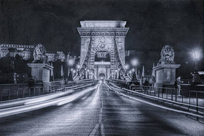 Chain Bridge Night Traffic Bwii Poster by Joan Carroll