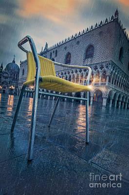 Chair In The Rain Poster by Danilo Piccioni