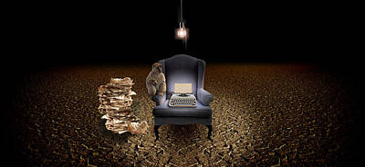 Chair With A Monkey And Typewriter Poster