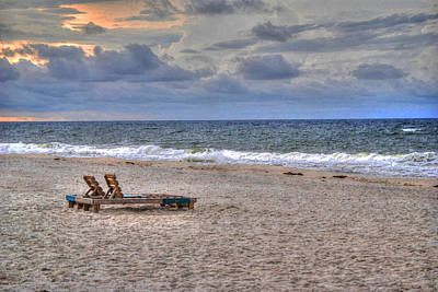 Chairs On The Beach In Aug Poster