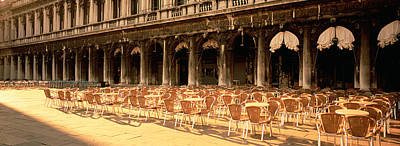 Chairs Outside A Building, Venice, Italy Poster
