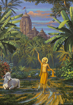 Chaitanya Mahaprabhu In Jaganath Puri Poster by Vrindavan Das